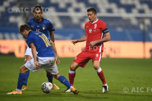 Italy Robert Lewandowski Poland Nicolo Barella Mapei final match between Italy 2-0 Poland Reggio Emilia, Italy.